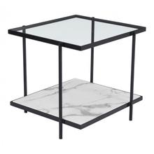 Winslett End Table Clear White & Matte Black