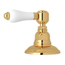 Deck Mount 3-Port 2 Direction Diverter - Italian Brass with White Porcelain Lever Handle
