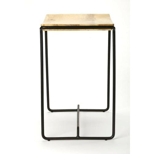Butler Specialty Company - This contemporary stool will stylishly enhance your space. Featuring a Natural Distressed Wood Finish that is contrasted by the Black metal finish frame. It is hand crafted from iron and mango wood. The simple design will blend with just about every room in your home.