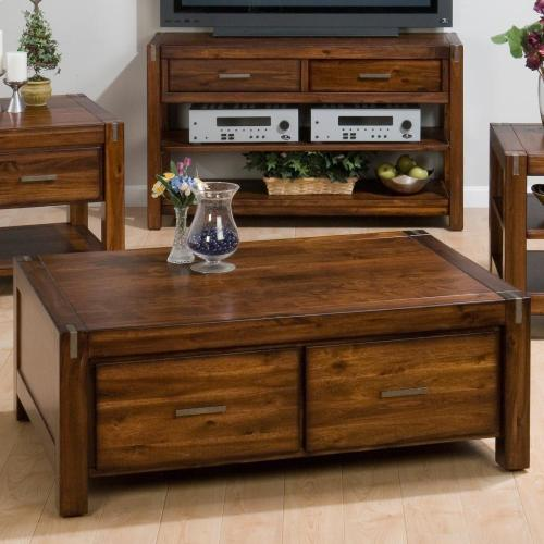 Double Header Cocktail Table W/ 4 Drawers and Casters