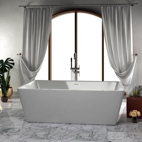 "Vaughn 71"" Acrylic Tub with Integral Drain - No Drillings / Brushed Nickel Drain and Overflow"