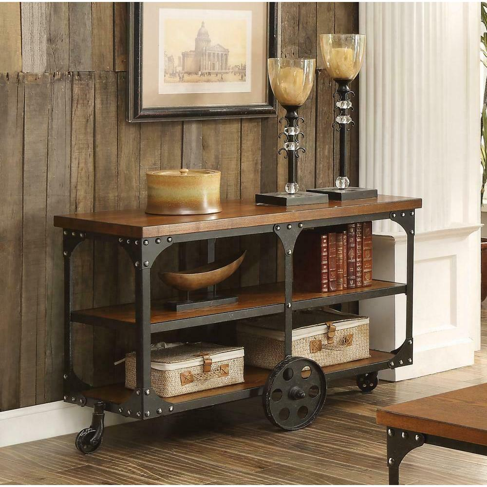 See Details - Rustic Cherry Sofa Table