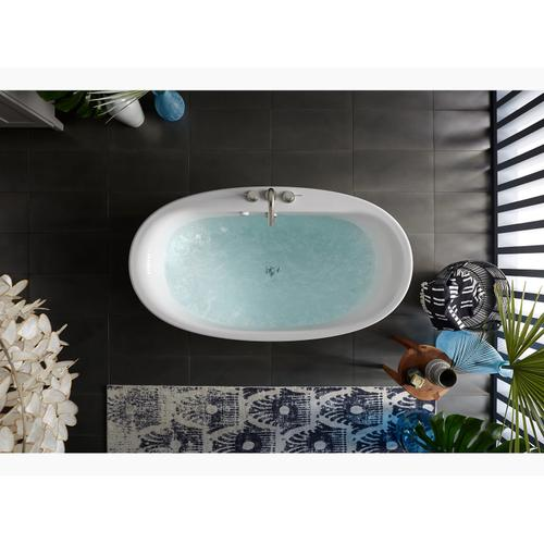 """White 60"""" X 34"""" Oval Freestanding Bath With Straight Shroud and Center Drain"""