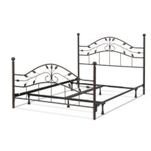 Sycamore Complete Metal Bed and Steel Support Frame with Leaf Pattern Design and Round Final Posts, Hammered Copper Finish, Queen