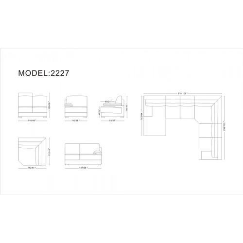 VIG Furniture - Divani Casa 2227 - Modern Orange Leather U Shaped Sectional Sofa