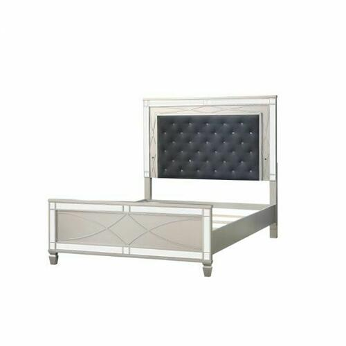 ACME Marcellus Queen Bed - 22180Q - Glam - PU, Wood (Pine), MDF, Ply - PU and Silver