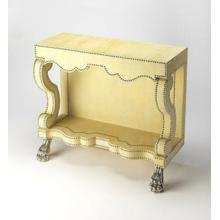 An Art Nouveau styled creamy leather console table . Crafted in creamy leather, and featuring a hairy paw foot in high polished aluminum with leather tack accents, this a highly stylised console table of a sculptural silhouette.