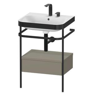 Furniture Washbasin C-bonded With Metal Console Floorstanding, Stone Gray Satin Matte (lacquer)