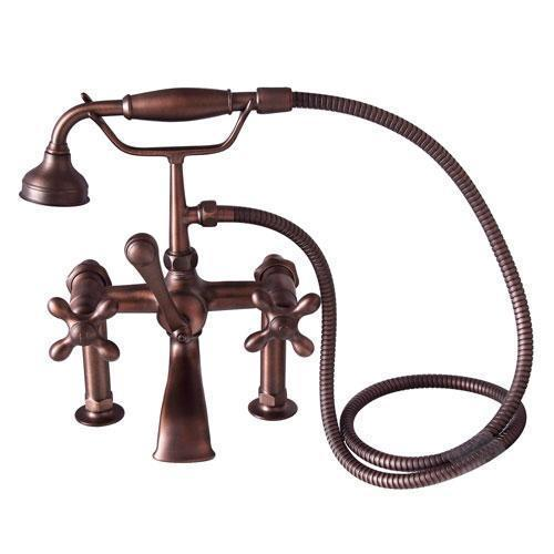 Tub Rim-Mounted Filler with Hand-Held Shower - Cross Handles / Oil Rubbed Bronze