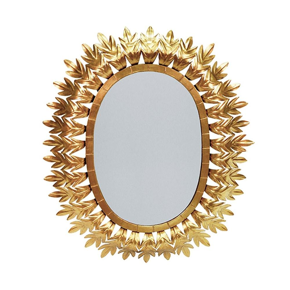 Inspired By Caesar's Crown of Gilded Laurels, the Oval Metal Frame On Our Lona Mirror Is A Starburst of Style. Hand Finished In Gold LEAF.