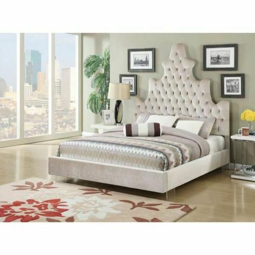 ACME Honesty Eastern King Bed - 25027EK - Sand Plush