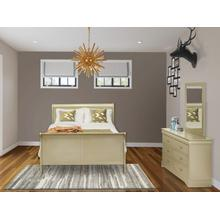 West Furniture Louis Philippe 3 Piece Queen Size Bedroom Set in Metallic Gold Finish with Queen Bed, ,Dresser, Mirror,