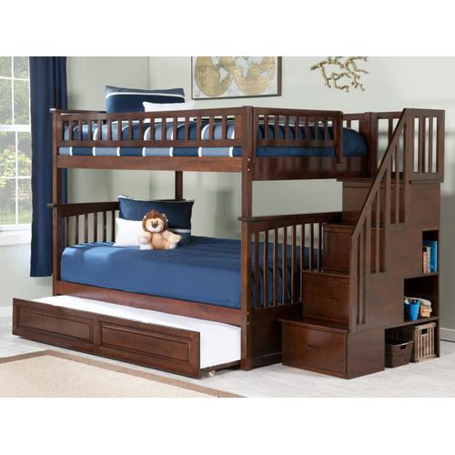 Atlantic Furniture - Columbia Staircase Bunk Bed Full over Full with Raised Panel Trundle Bed in Walnut