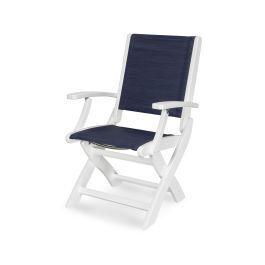 Coastal Folding Chair in Vintage White / Sapphire Sling