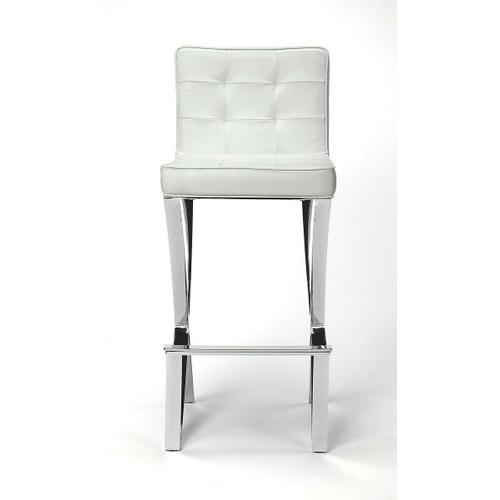 Pull up a seat and sip your favorite beverage while watching the game. This bar stool brings elegant contemporary glam to your entertainment or kitchen ensemble. Founded atop an Iron frame with a high polish finish, its button tufted seat and back are uph