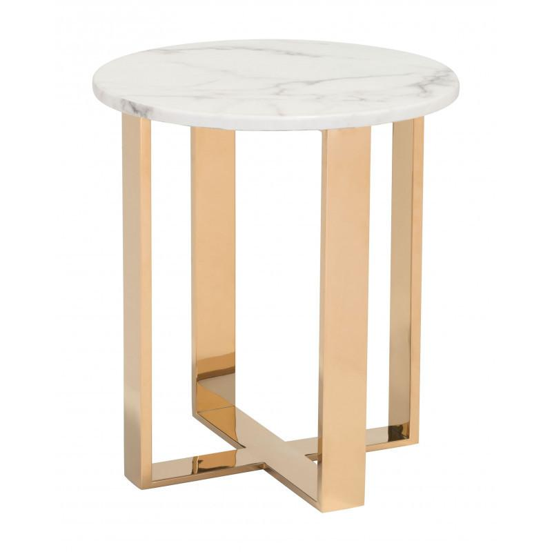 Atlas End Table White & Gold