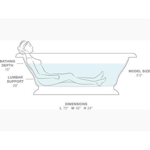 "White 72"" X 42"" Freestanding Bath"