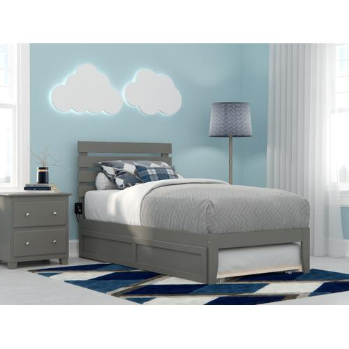 Oxford Twin Bed with USB Turbo Charger and Twin Trundle in Grey