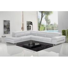 View Product - Accenti Italia Westport - Italian Modern White Leather Left Facing Sectional Sofa