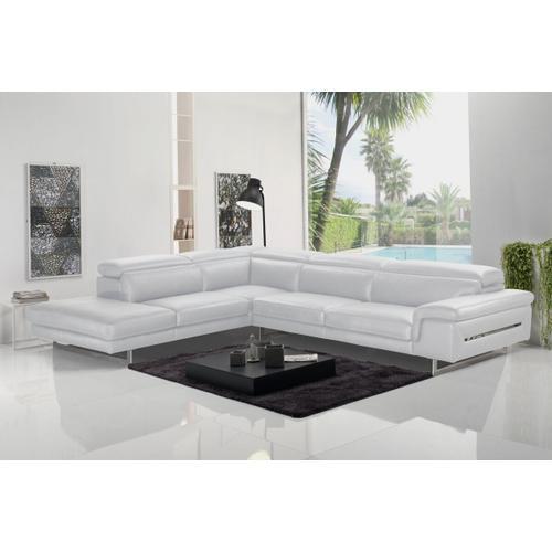 VIG Furniture - Accenti Italia Westport - Italian Modern White Leather Left Facing Sectional Sofa