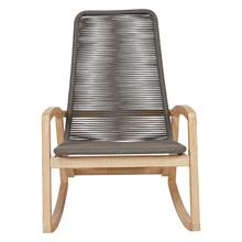 """Product Image - 27-1/4""""W x 36-3/4""""D x 40-1/2""""H Teak Wood & Woven Rope Indoor/Outdoor Rocking Chair, Grey, KD"""