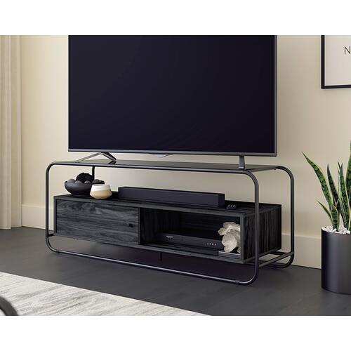 Modern Metal & Wood TV Stand with Storage