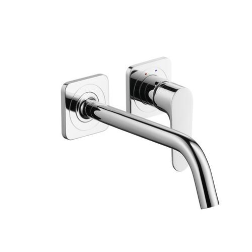 Chrome Single lever basin mixer for concealed installation wall-mounted with spout 227 mm and escutcheons