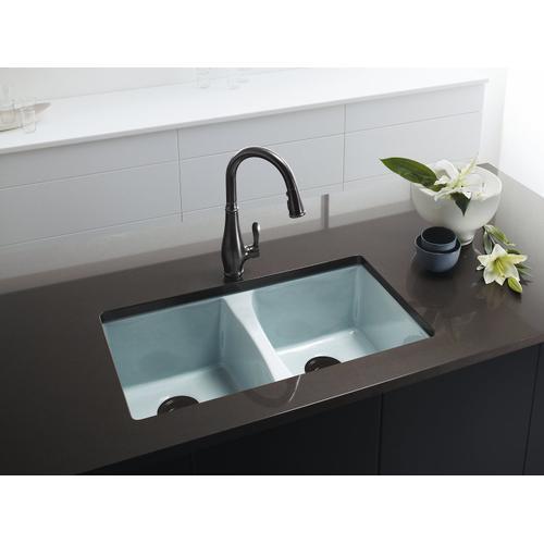 "Black Black 33"" X 22"" X 9-5/8"" Undermount Double-equal Kitchen Sink"