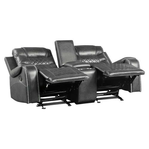 Gallery - Double Glider Reclining Love Seat with Center Console, Receptacles and USB port