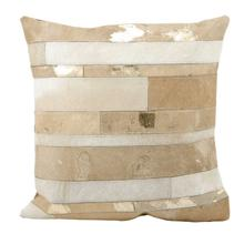 """Natural Leather Hide S1160 Beige 20"""" X 20"""" Throw Pillow"""
