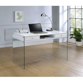 See Details - Contemporary Glossy White Writing Desk