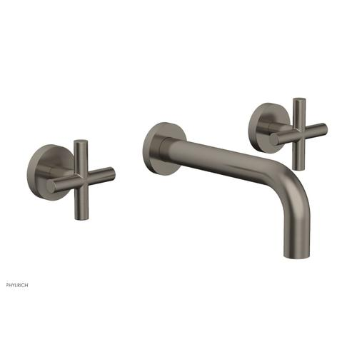 """Phylrich - TRANSITION - Wall Lavatory Set 7 1/2"""" Spout - Cross Handles 120-11 - Pewter"""