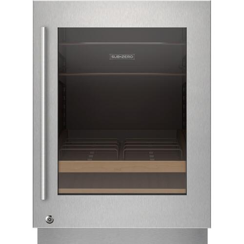 Sub-Zero - Stainless Steel Glass Door Panel With Lock - Tubular Handle, Right Hinge