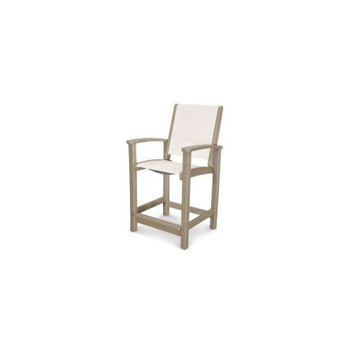 Polywood Furnishings - Coastal Counter Chair in Vintage Sahara / Parchment Sling