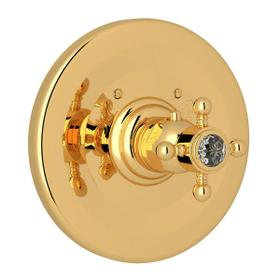 Thermostatic Trim Plate without Volume Control - Italian Brass with Crystal Cross Handle