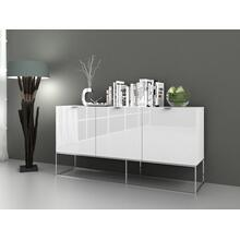 The Vizzione High Gloss White Lacquer / Stainless Steel Buffets