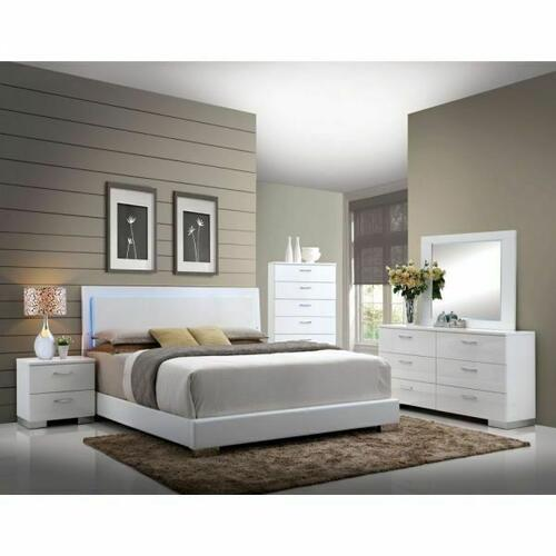 ACME Lorimar Queen Bed (HB w/LED) - 22640Q - White PU & Chrome Leg
