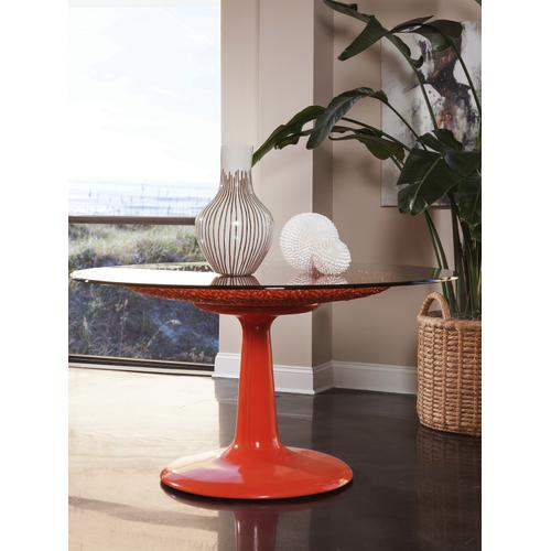 Seascape Orange Dining Table With Glass Top