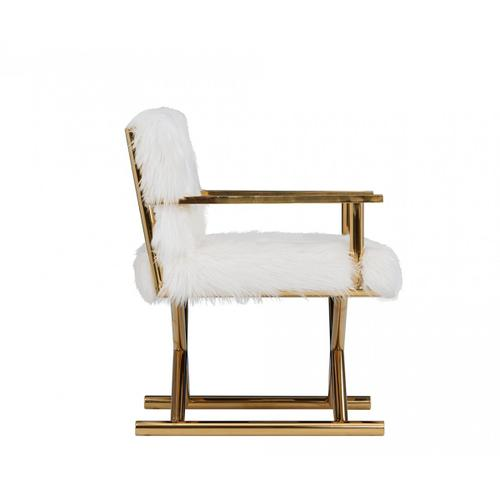 Gallery - Modrest Corley Modern White Faux Fur & Gold Accent Chair