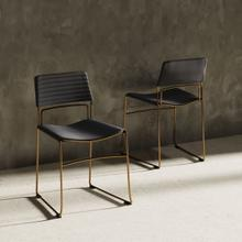 View Product - Modrest Swain Modern Grey Fabric & Gold Dining Chair (Set of 2)