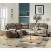 ACME Olwen Sectional Sofa (Power Motion & USB) - 54590 - Mocha Nubuck