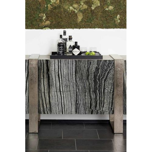 Linea Entertainment Console in Black Forest Marble (384), Textured Graphite Metal (384), Cerused Greige (384)