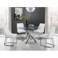 The Galaxy Chrome / Clear Glass Dining Tables