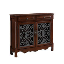 See Details - Light Cherry 2-door, 2-drawer Scroll Console