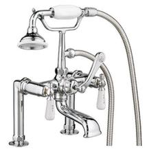 """Clawfoot Tub Filler - Elephant Spout, Hand Held Shower, 6"""" Elbow Mounts - Lever Handles / Polished Chrome"""