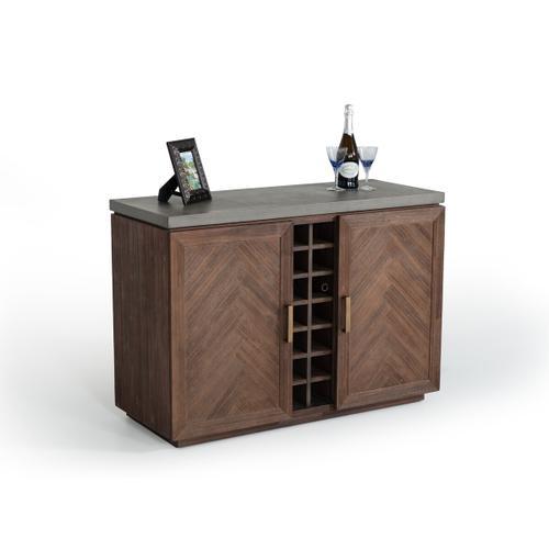 VIG Furniture - Modrest Amos Modern Concrete & Acacia Wine Cabinet