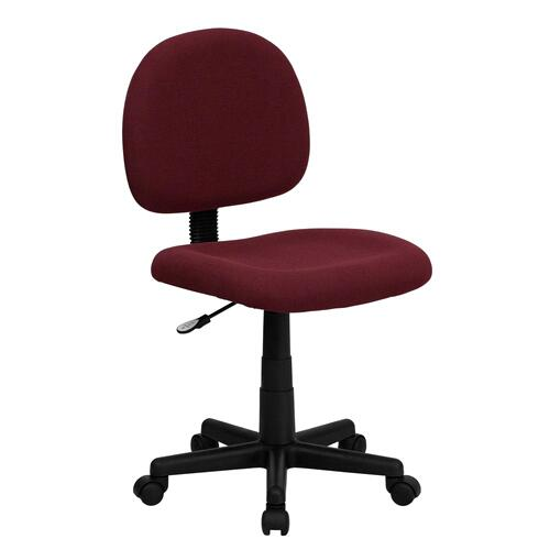 Low Back Burgundy Fabric Swivel Task Chair
