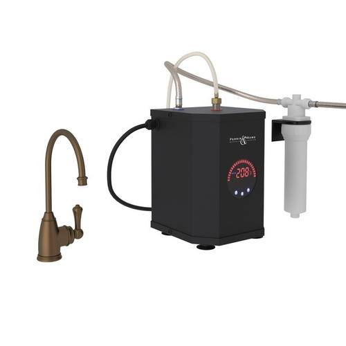 English Bronze Perrin & Rowe Georgian Era C-Spout Hot Water Faucet, Tank And Filter Kit with Traditional Metal Lever