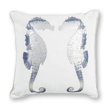 "Pillow L302 Silver Seahorses 18"" X 18"""