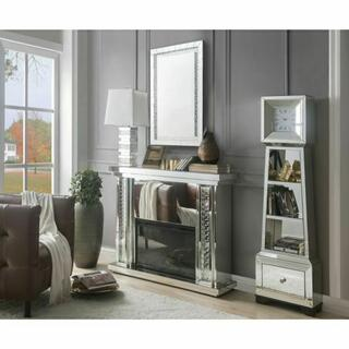 ACME Nysa Fireplace - 90254 - Mirrored & Faux Crystals